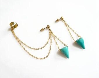 Turquoise Ear Cuff with Chains, Chain Ear Cuff Earrings, Cross Beaded Asymmetrical Earrings