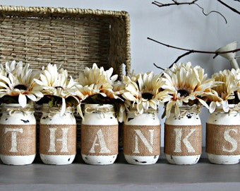 Thanksgiving Decor,Thanksgiving Centerpieces,Fall Table Decor,Rustic Decor,Thanks Mason Jars,Thanksgiving Table Decor,Thanks Sign,Fall Decor