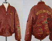 Vintage 70s embroidered souvenir bomber jacket / Far East tour jacket