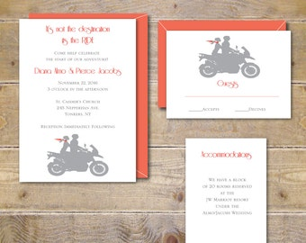 motorcycle wedding | etsy, Wedding invitations