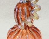 Hand Blown Glass Art Sculpture PEACH Pumpkin Oneil 6354