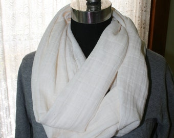 Cream Infinity Scarf - Fabric - Cowl - Fashionista - Washable - Tone on Tone Plaid - Off White Double Gauze - Winter White - Soft Neck Scarf