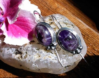 Purple Amethyst and Silver Earrings