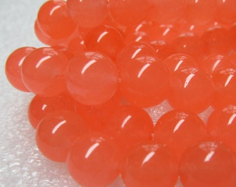 Jade Beads 12mm Orange Sherbet Semi Translucent Smooth Candy Rounds - 16 Pieces