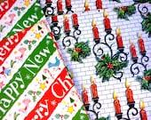 9 Sheets 1950s Christmas Gift Wrap Paper Different Crisp Never Used Sheets - Vintage Holiday Paper Candles Angels Carols Mistletoe Men Gift