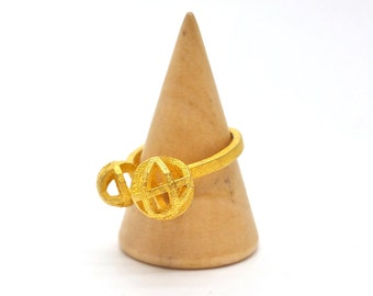 Two Moons Geometric Ring // 3d printed steel brass silver ring // all sizes available
