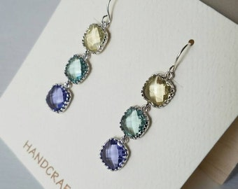 citrine, seafoam, tanzanite earrings with silver detail