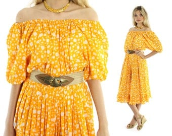 Vintage 80s Bill Blass Peasant Dress Off the Shoulders Orange Full Skirt Gypsy Midi 1980s Medium M Hippie Boho