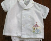 Vintage 1960s  Infant Baby Boy  2-Piece Outfit, White Cotton with Embroidered Carousel