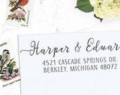 Custom Address Stamp, Return Address Stamp, Wedding address stamp, Calligraphy Address Stamp, Self inking or Eco Mount stamp- Harper