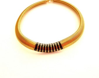 Vintage Napier Gold Tone Choker Collar Necklace with Black Enamel 16 Inches