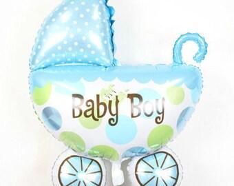 Stroller Balloon - Baby Boy Balloon - Foil Star Balloon - 35 x 26 cms - Baby Shower - Helium Balloon - Ready to Ship