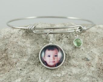 Custom Photo Bracelet, Personalized Charm Bracelet, Birthstone Bracelet, Adjustable Bangle Bracelet