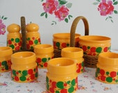 EMSA Plastic Breakfast Set - Salt and Pepper shakers in Basket - 6 Egg Cups -  2 Pots in Basket - Original Vintage from the 70s