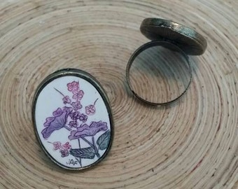 Scrimshaw Adjustable Ring Lovely Pink and Purple Flowers OOAK Great Gift Idea