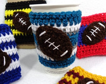 Football Coffee Cup Cozy ~ Crochet Coffee Cup Sleeve with Football ~ You Pick Your Team Colors, Stocking Stuffer, Gift for Men Can Cozy