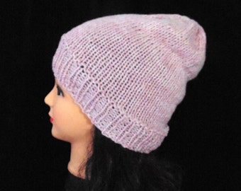 Light Pink Slouchy Hat, Slouchy Beanie Woman's Hay, Pink Beanie, Teen Hat, Wool Hat