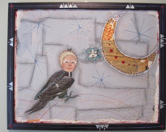 Baby Harpy collage, mixed media art, recycled home decor