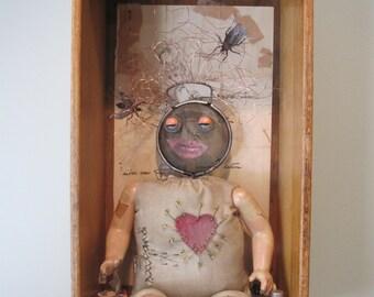 Creepy dolly assemblage, mixed media shadow box, creepy art
