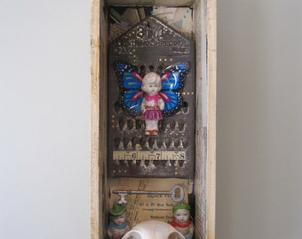 Mixed media shadow box, assemblage, 3D art