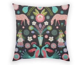 Pillow Cushion Cover Slip Sham Square 17 x17 Inch Linen Cotton Folk Design Ukranian Influence Charcoal Aqua Deep Pink Lime Green Pink Mirror