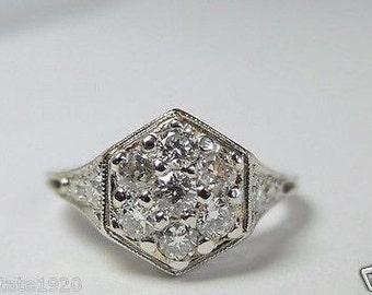 Antique European Diamond Platinum Art Deco Engagement Ring | RE-520