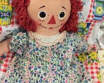 """Raggedy Ann vintage cloth doll, red hair doll, soft cuddly rag doll,  18"""" tall original vintage Raggedy Ann rag DOLL, doll clothes"""