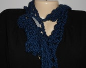 Dark blue scarflette with matching head band with flowers for girls.  Lacy crocheted fashion scarflette//gift for girls