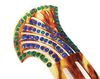 Art Deco Hair Comb, Celluloid, Tortoise Shell, Emerald Green, Blue, Rhinestone, Decorative Comb, Chignon, Antique Accessories