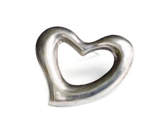 Mexican Sterling Puffy Heart Brooch - Silver 925, Mexico TV 40, Large Brooch, Statement Jewelry, Vintage Jewelry, Vintage Brooch