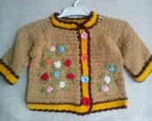 knit sweater newbor  knit newborn  baby handmade  Knitted Baby Cardigan  brown Hand Knitted sweater  READY TO SHIP   Baby cardigan