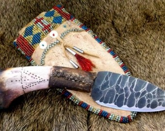 Primitive Knife in Native American Style Beaded Sheath Mountain Man