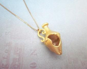 Gold Amphora Necklace -- Gold Bottle Necklace -- Vase Necklace -- Amphora Pendant Necklace -- Good Luck Pendant -- Vessel Necklace