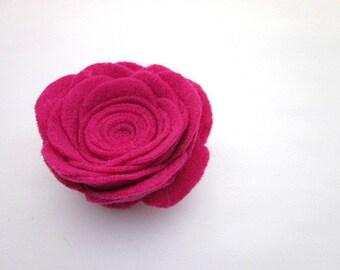 Pink Felt Flower -- Pink Flower Pin Accessory -- Hot Pink Pin -- Fuchsia Flower Clip -- Large Lapel Pin -- Large Pink Felt Pin -- Pink Pin