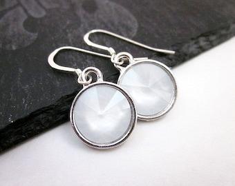 White Swarovski Earrings -- Silver & White Crystal Earrings -- White Crystal Dangle Drops -- Round White Dangles -- Opaque Dangles