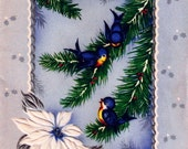Vintage Christmas Card Pretty Bluebirds Pine Branches Winter Scene