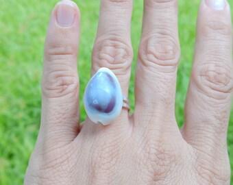 Purple and White Cowry Seashell Ring