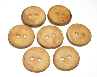"7 Handmade apple wood Tree Branch Buttons with Bark, accessories (1,06"" diameter x 0,20"" thick)"