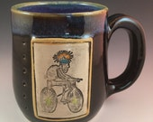 Bike, Skeleton, Dia de los Muertos, Mug, Day of Dead, Bicycle Mug, Skeleton Mug, Handmade Mug, Unique Skeleton Mug, Bike Mug