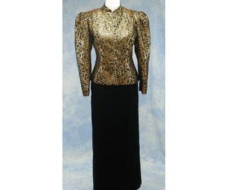 Vintage 80s Guy Laroche Boutique Paris Evening Skirt Suit, Puff Sleeve Jacket, Long Velvet Skirt, Sz 12 14 Large