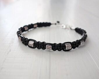 Black leather bracelet metal beads mens leather cuff unisex women