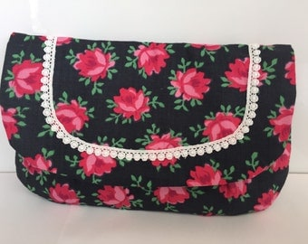 Cosmetic purse made from vintage fabric