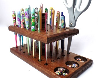 Crochet Hook Organizer with Polymer Clay Inlay