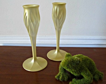 Gold Candle Stick Holders - Set of 2 - Upcycled Painted Cut Glass Candlesticks - Wedding, Party, Entertaining, Home Decor