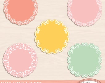 Doily frames and labels clip art, digital frames, lace frames clipart, lace frame, doily frame, photo frame, PSD templates, F320