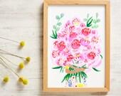 Bouquet of Peonies Print