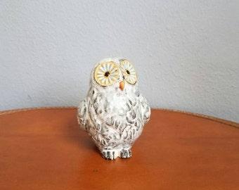 Vintage 60s 70s Big Eyed Ceramic Owl