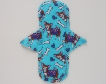 9.5 InchReusable Cloth Menstrual Pad,Incontinence Pad, Mama Cloth,Panty Liner,Light To Mod Absorbency Flannel Topped W/ PUL Backing
