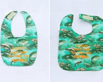 DADDY Can't wait to Take Me Fishing - Small OR Large - Boys Baby Bib - Personalize Yours - FREE Shipping to U.S.