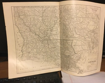Circa 1910 Louisiana map. Great for framing! Free shipping. 11x17 paper image.
